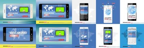 Dernières nouvelles sur le smartphone avec le fond de la carte du monde Mobile moderne TV Écran protecteur Image stock