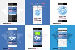 Dernières nouvelles sur le smartphone avec le fond de la carte du monde Mobile moderne TV Écran protecteur Photos stock
