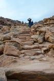 Derniers mètres de montée à la montagne Moïse, Egypte Escaliers de Photo libre de droits