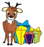 Derr with gifts Stock Photos