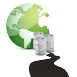 Derramamento de petróleo sobre o planeta sobre o fundo branco. Fotografia de Stock Royalty Free