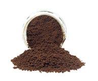 Derramamento do café instantâneo Foto de Stock