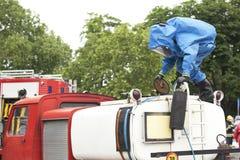 Derramamento químico após o acidente de viação Fotos de Stock Royalty Free