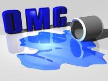 Derramamiento de la pintura de OMG Imagen de archivo libre de regalías