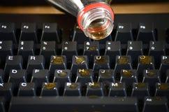 Derramamiento de la soda del teclado Imagen de archivo