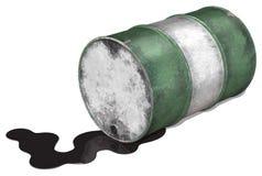 Derramamiento del tambor de petróleo Foto de archivo libre de regalías