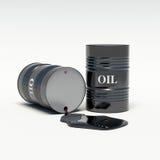 Derramamientos de los barriles de petróleo del aceite Fotografía de archivo