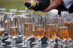 Derramando o champanhe Fotografia de Stock