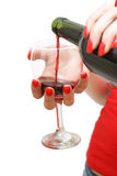 Derramando um vidro do vinho Foto de Stock Royalty Free