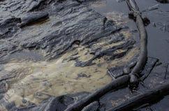 Derrame de petróleo en la playa del Ao Prao, isla de Kho Samed. Imagen de archivo libre de regalías