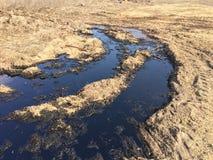 Derrame de petróleo en tierra Fotos de archivo libres de regalías