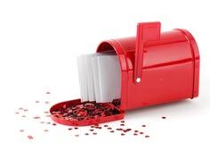 Derrame hacia fuera el amor - cartas en caja roja Fotografía de archivo