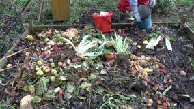 Derrame o vário desperdício das frutas e legumes na caixa de madeira do adubo filme