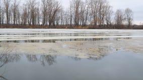 Derretendo o último gelo no rio na mola adiantada em um dia nebuloso filme
