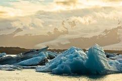 Derretimento dos iceberg na lagoa da geleira de Jokulsarlon no por do sol imagens de stock royalty free