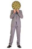 derrière la dissimulation de dartboard d'homme d'affaires image stock