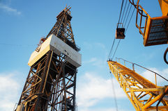 Derrick of Jack Up Oil Drilling Rig and Rig Crane Stock Photography
