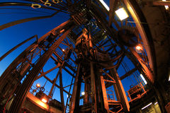 Derrick of Oil Drilling Rig. With Fish Eye Angle Perspective Royalty Free Stock Photography