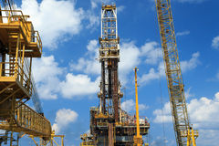 Derrick of Tender Drilling Oil Rig (Barge Oil Rig) Royalty Free Stock Image