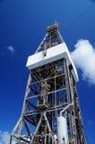 Derrickkran der Offshorejack-oben Erdölbohrung-Anlage Stockfotos