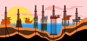 derrics produkci ropy naftowej morze Zdjęcia Stock