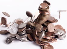 Derrumbamiento de las monedas Foto de archivo libre de regalías
