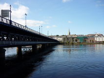 Derry, Northern Ireland. View on the city from the bank of the river Foyle stock image