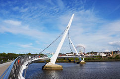 Derry Peace Bridge. In shiny day Royalty Free Stock Photo