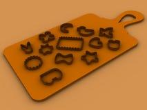 13 die vormen voor bakselkoekjes op een scherpe raad worden geplaatst Stock Fotografie