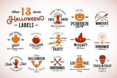 Dertien Griezelige Uitstekende Kentekens, de Etiketten of Logo Templates van Halloween Vector Pompoen, Spook, Schedel, Beenderen, stock illustratie
