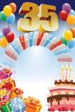Dertig-vijfde verjaardagsaffiche Royalty-vrije Stock Fotografie