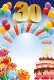 Dertigste verjaardagsaffiche Royalty-vrije Stock Afbeeldingen