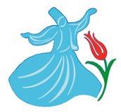 Derviche de giro del vector Mevlana con el tulipán Fotos de archivo