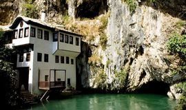 Dervish house. In Blagaj (near Mostar) one of the most mystical places of Bosnia and Herzegovina royalty free stock image