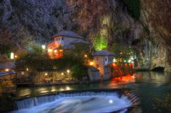 Dervish house, Blagaj, Bosnia and Herzegovina - night scene royalty free stock photo