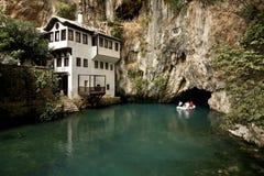 Dervish house in Blagaj Buna. Near to Mostar in Bosnia and Herzegovina Stock Photo