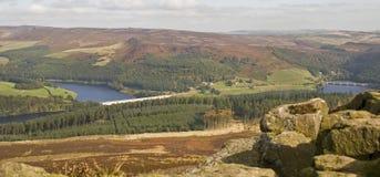 Derwent dal från segerkullen, Derbyshire Arkivbilder