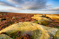 Derwent Edge in Derbyshire. Evening light on rocks at Derwent Edge in the Peaks District National Park in Derbyshire Royalty Free Stock Photography