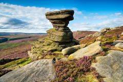 Derwent Edge in Derbyshire. The Salt Cellar, a weathered rock formation high up above the Lady Bower Reservoir on Derwent Edge in the Derbyshire Peak District Stock Images