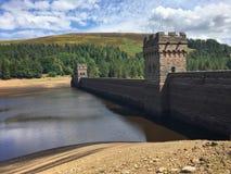 Derwent Dam of Derwent Reservoir Derbyshire, Peak District, England. Derwent Reservoir is the middle of three reservoirs in the Upper Derwent Valley in the royalty free stock images