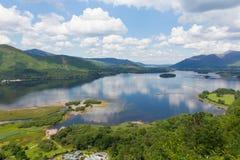 Derwent vatten Cumbria för nationalparken för området för sjön söder av Keswick höjde sikt Royaltyfria Bilder