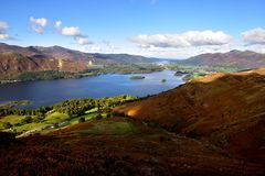 Derwent Water. The fells around Derwent Water Stock Photos
