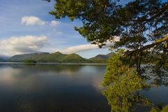 Derwent Water from Friars Crag with view of Catbells, Lake District, Cumbria, England royalty free stock photo