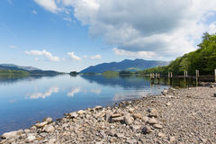 Derwent Water Lake District Cumbria England uk south of Keswick blue sky beautiful calm sunny summer day Stock Image