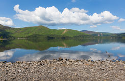 Derwent Water Lake District Cumbria England uk south of Keswick blue sky beautiful calm sunny summer day Stock Photos
