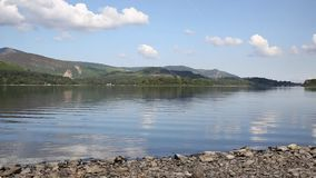 Derwent Water Lake District uk south of Keswick blue sky beautiful calm sunny summer day PAN Stock Photography