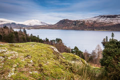 Derwent Water with snow covered Lonscale Fell Stock Image