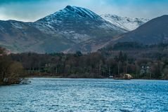 Derwent Waterand and Skiddaw mountain in background stock images