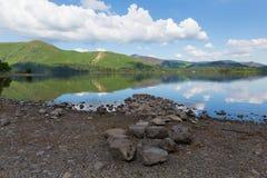 Derwent Water湖区Cumbria英国英国在凯西克蓝天美好的镇静晴朗的夏日南部 免版税库存照片