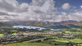 Derwentwater Keswick, UK från Latrigg fotografering för bildbyråer